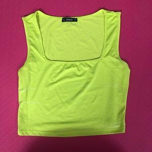 Shein neon square neck crop top